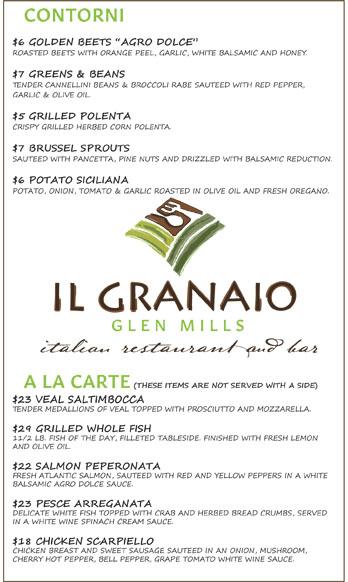 Il granaio italian restaurant dinner menu fresh for The local italian menu